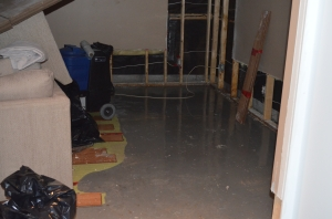 The damage, after we tore out the floor and walls