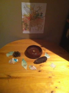 Our little nature table, in our basement family room