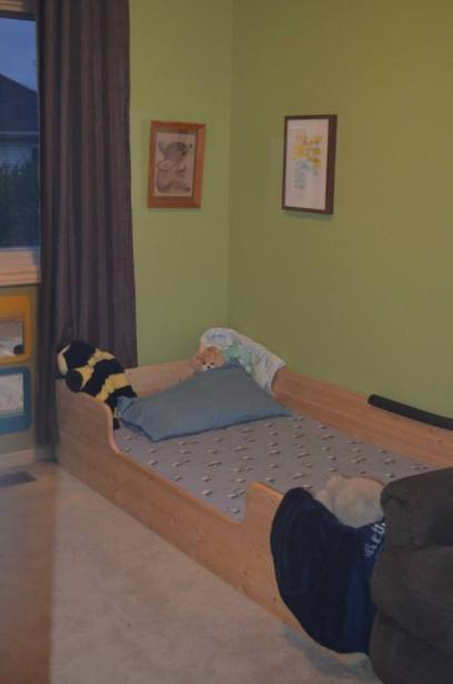 Liam's Montessori Bed - Handmade by a friend of Jan's.