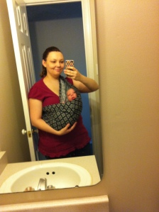 Me in my Seven Slings pouch (we both hated it and gave it away)