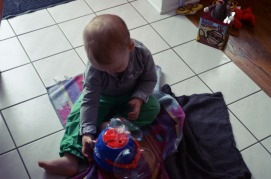 Liam enjoying his new bubble maker