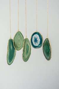 Etsy found necklaces made from agate slices, sea glass coloured.