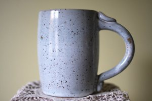 earthenware light blue mug with